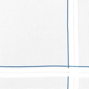Variante azzurra - Sangallo - fazzoletto di cotone da uomo con incroci di spesse righe di raso e righe colorate e Orlo a Mano