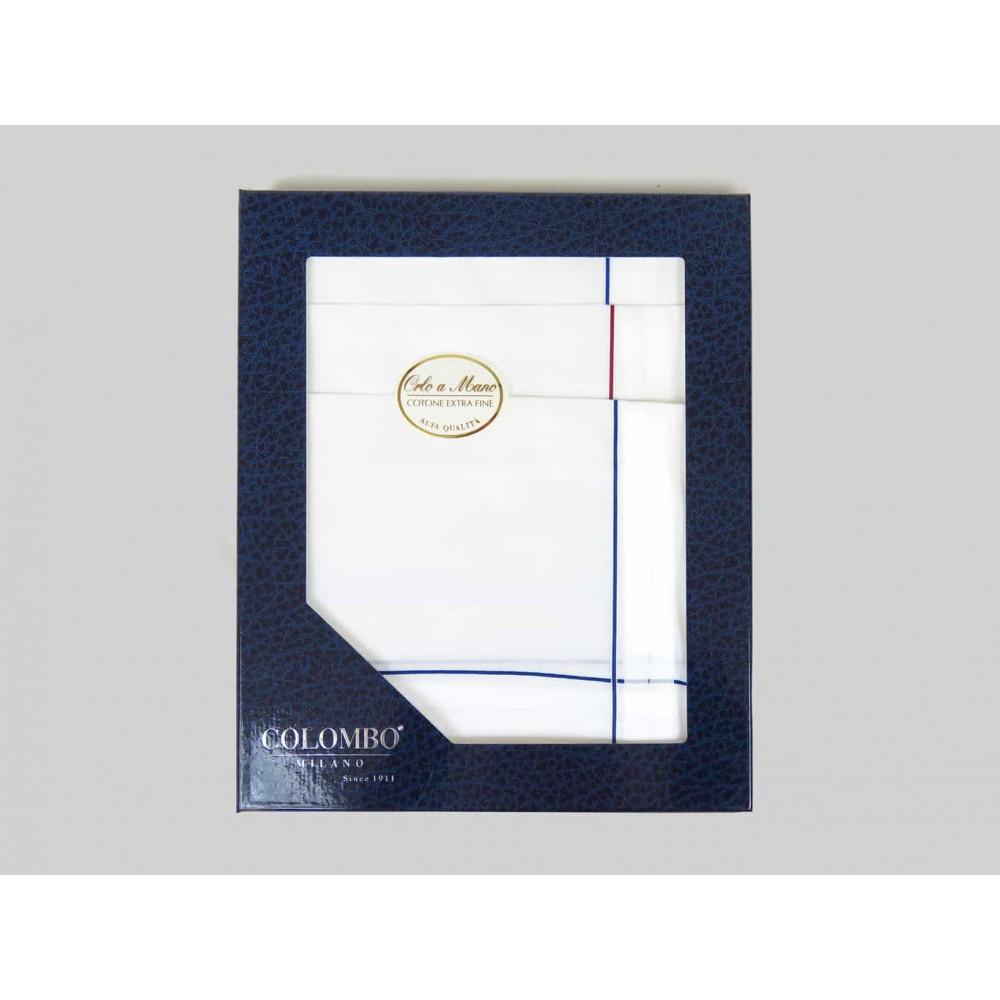 Sangallo - dozen handkerchiefs for men with Hand rolled hem - thick satin stripes - box