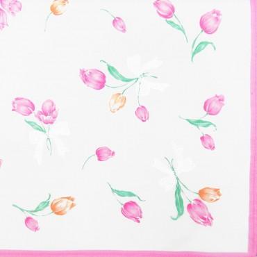 Box dozen - Grazia - handkerchiefs with tulips pink colorway