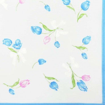 Box dozen - Grazia - handkerchiefs with tulips light blue colorway