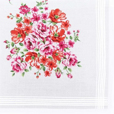 Victoria - handkerchiefs with bouquet on jacquard ground - pink red colorway