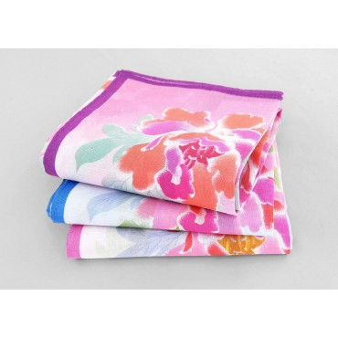Giulia - 12 handkerchiefs with peony print - colorways