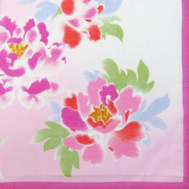 Giulia - 12 handkerchiefs with peony print pink colorway