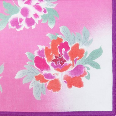 Giulia - 12 handkerchiefs with peony print - purple colorway