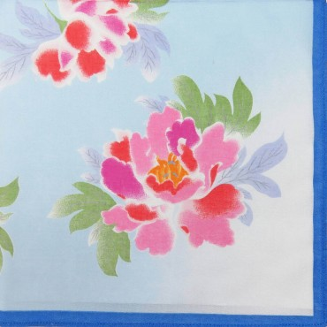 Giulia - 12 handkerchiefs with peony print blue colorway