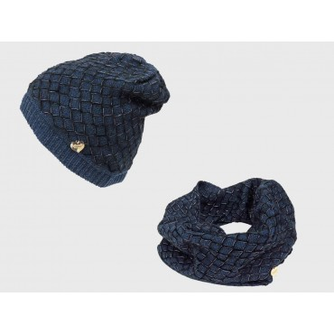 Hat and ring scarf with net decoration with lurex blue