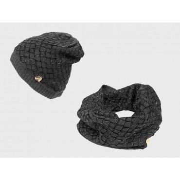 Grigio - Set donna cappello e sciarpa lavorati a trecce con lurex