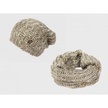 Fango - Set cappello e sciarpa donna morbidi con paillettes e lurex