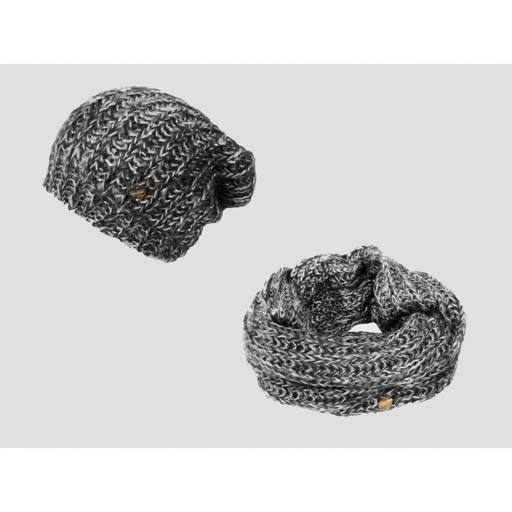 Gray - Soft women's hat and scarf set with sequins and lurex