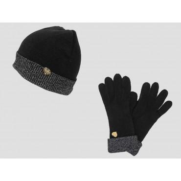 Set guanti e cappello donna con risvolto di lurex argento