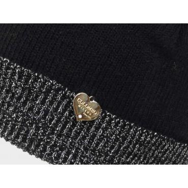 Dettaglio cuoricino - cappello da donna con risvolto di lurex argento
