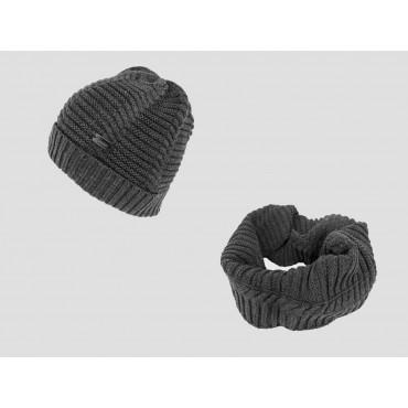 Herringbone hat and round scarf for men - dark grey