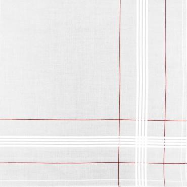 Variante rossa - Parigi - fazzoletto di cotone da uomo con incroci di righe di raso e colorate e Orlo Roulè