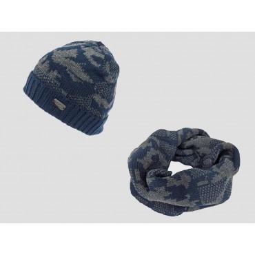 Blu - Set cappello e sciarpa uomo jacquard