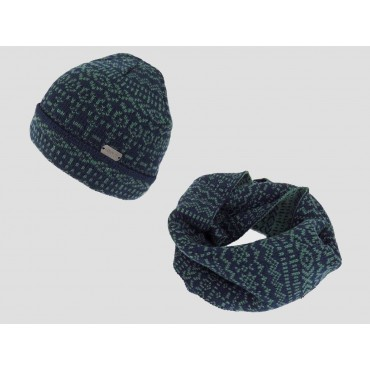 Jacquard hat and ring scarf men's set with geometric motifs - green