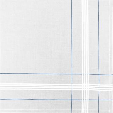 Variante azzurra - Parigi - fazzoletto di cotone da uomo con incroci di righe di raso e colorate e Orlo Roulè