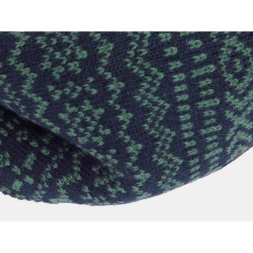 Jacquard hat and ring scarf men's set with geometric motifs - detail