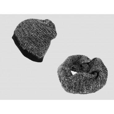 Nero - Set uomo cappello e sciarpa bicolore con finissaggio mohair
