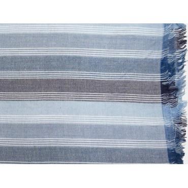 Dettaglio - Sciarpe primaverili estive - sciarpa foulard toni blu a righe fini