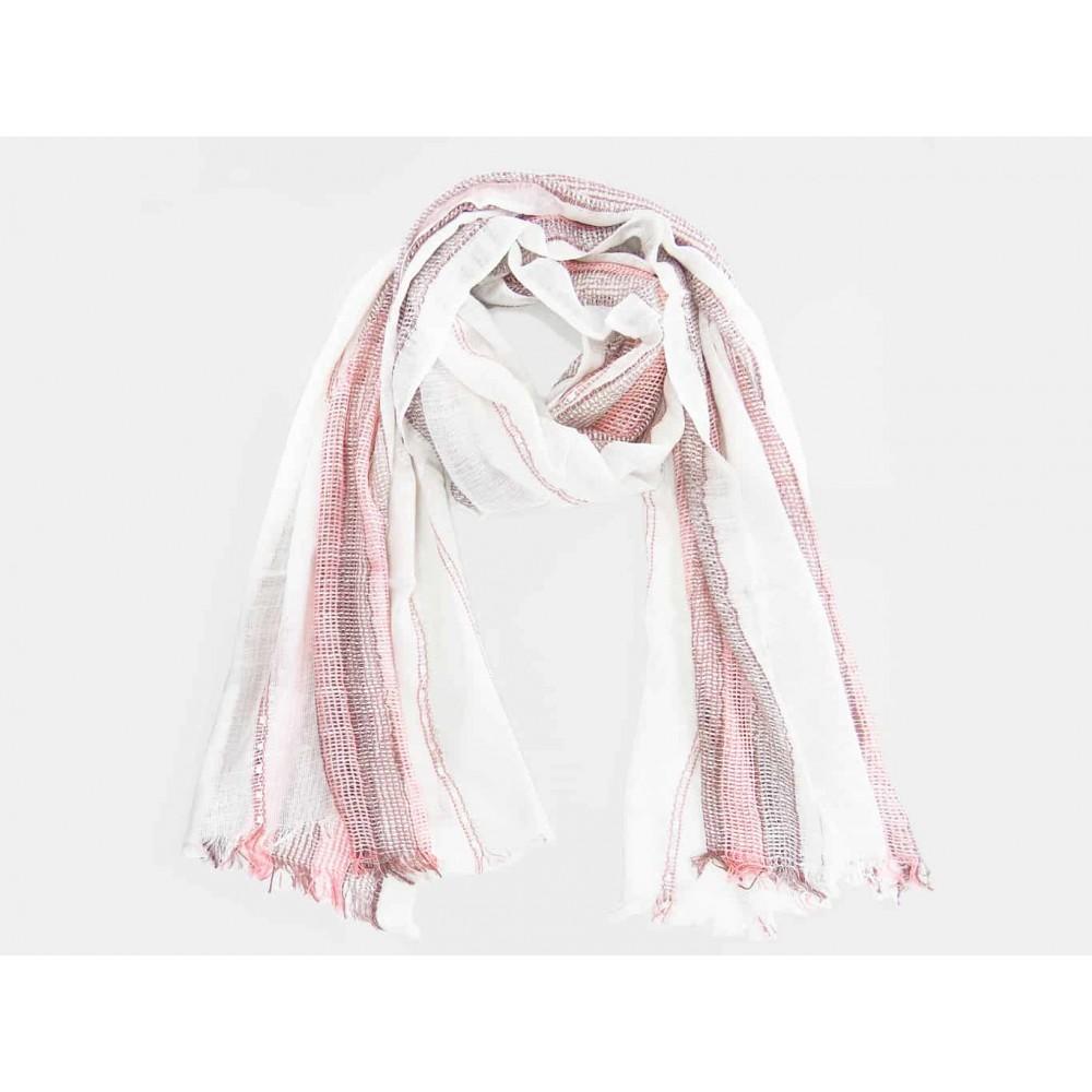pretty nice d3e6e 1000e Sciarpa da donna con righe rosa lavorate in rilievo
