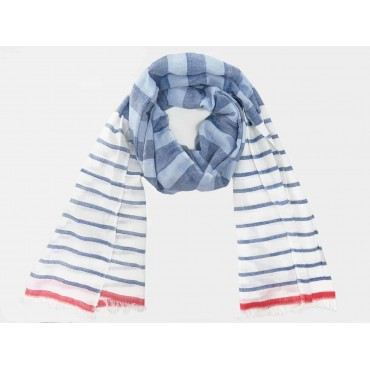 Soft blue and red striped scarf