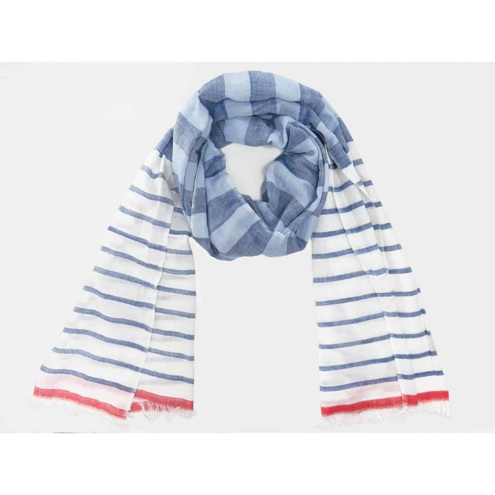 Modello - Sciarpe primaverili estive - sciarpa foulard a righe azzurre e rosse