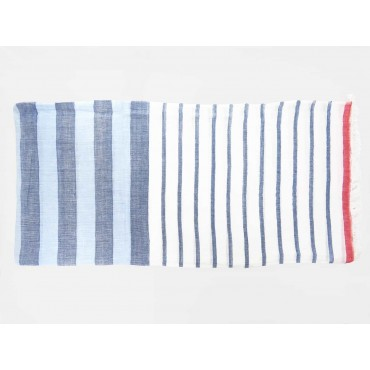 Soft blue and red striped scarf open