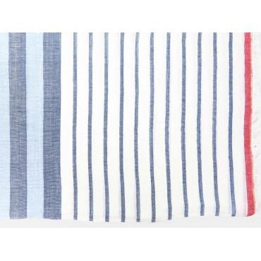 Dettaglio - Sciarpe primaverili estive - sciarpa foulard a righe azzurre e rosse