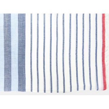 Soft blue and red striped scarf detail
