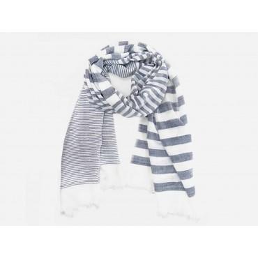 Modello - Sciarpe primaverili estive - sciarpa foulard a righe denim