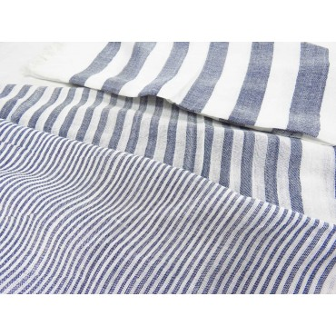 Dettaglio - Sciarpe primaverili estive - sciarpa foulard a righe denim