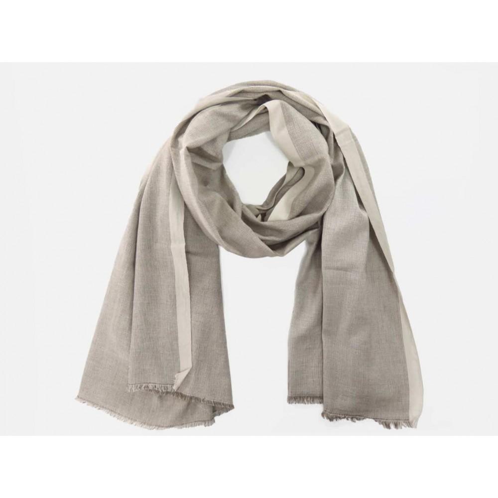 Modello - Sciarpe primaverili estive - sciarpa foulard in cotone color sabbia a righe