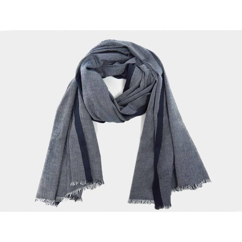 Modello - Sciarpe primaverili estive - sciarpa foulard blu in cotone  a righe