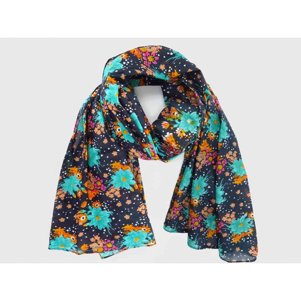 Wide cotton scarf with colorful flowers on a blue background