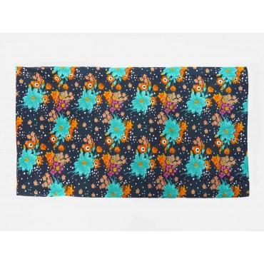 Disegno - Sciarpe primaverili estive - sciarpa pareo a fiori multicolor su fondo blu