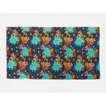 Wide cotton scarf with colorful flowers on a blue background open