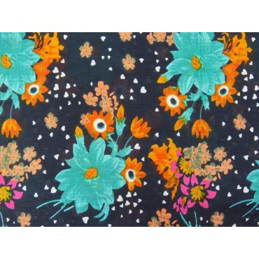 Wide cotton scarf with colorful flowers on a blue background detail