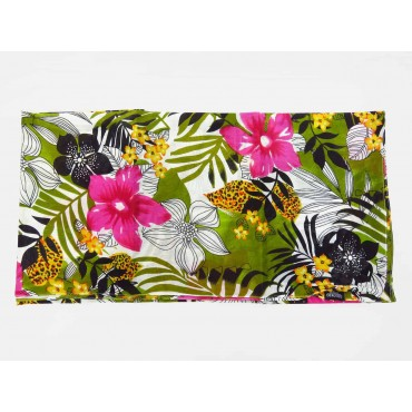 Wide cotton scarf with tropical print open