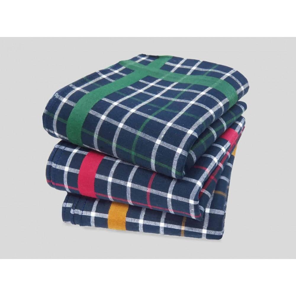 Scozia - blue ground checked handkerchiefs with colored satin stripe