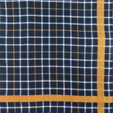 Scozia - blue ground checked handkerchiefs with colored satin stripe side box yellow