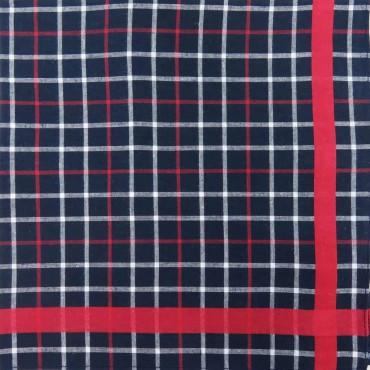 Scozia - blue ground checked handkerchiefs with colored satin stripe side box red