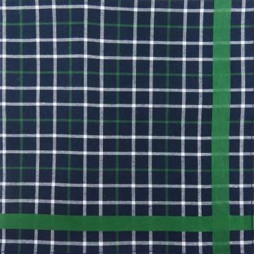 Scozia - blue ground checked handkerchiefs with colored satin stripe side box green
