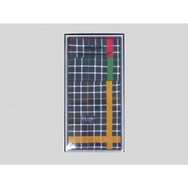 Scozia - blue ground checked handkerchiefs with colored satin stripe front box