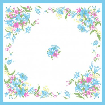 Variante azzurra - fazzoletti di cotone da donna con fantasia floreale