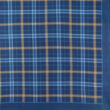 Variante blu - fazzoletto di cotone scozzese da uomo con fantasia rigata