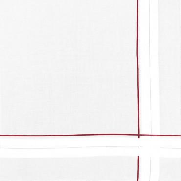 Variante rossa - Sangallo - fazzoletto di cotone da uomo con incroci di spesse righe di raso e righe colorate e Orlo a Mano