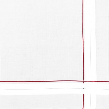 Sangallo - striped handkerchiefs with hand rolled hem detail red