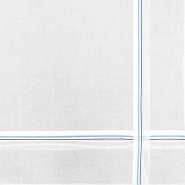 Variante blu - fazzoletto di cotone da uomo bianco con sottili righe di raso incrociate