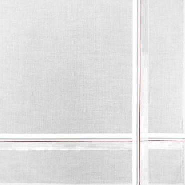 Variante rossa - fazzoletto di cotone da uomo bianco con sottili righe di raso incrociate