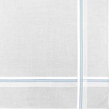 Variante azzurra - fazzoletto di cotone da uomo bianco con sottili righe di raso incrociate